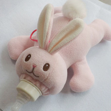 Pink Cartoon Rabbit Bunny Cute Soft Stuffed Animal Toy Baby Feeding Bottle Keep Warm Pouch Cover Holder Plush Toys Cutebaby JHnp(China)