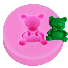 F1004 Cute Bear Silicone Mold with Bow Cake Decoration Food Safe Gum Paste Soap Butter Sugar  Mould