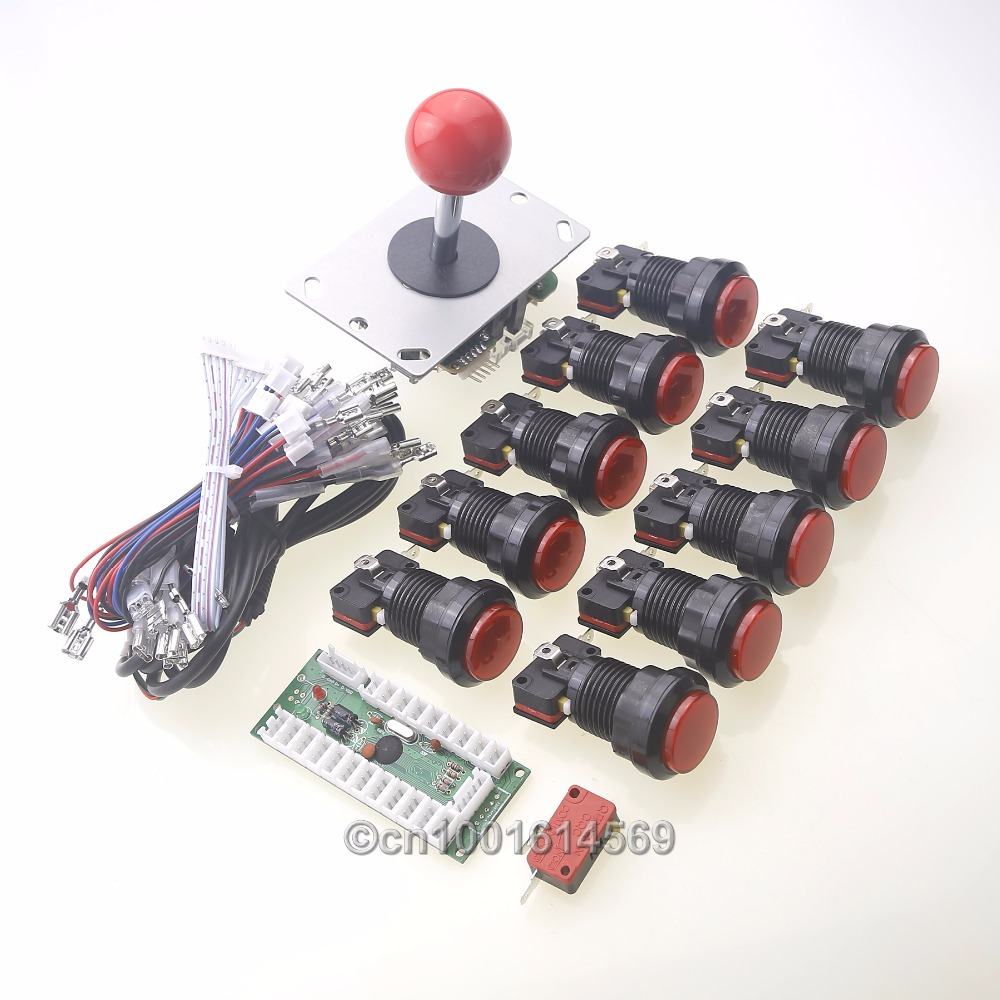 10x Arcade DIY Kits Parts MAME Multicade LED Illuminated Push Buttons + Arcade Joystick + Zero Delay PC Encoder Board USB Port<br><br>Aliexpress