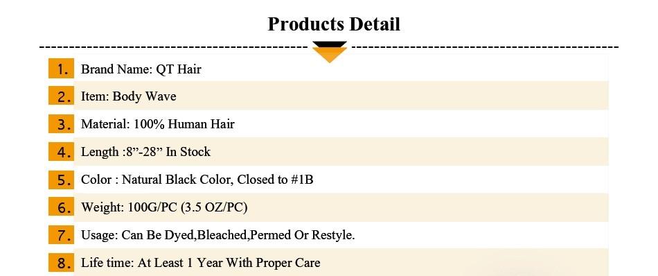 "QThair Peruvian Hair Bundles Body Wave Natural Black Color 8""-28"" Inch Non-remy Human Hair Weaving Free Shipping"