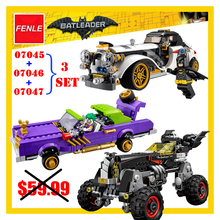 Lepin batman Movie 07045 07046 07047 3Set 1297 Pcs Joker`s Lowrider Penguin Classic Robbin`s Car Building Blocks Bricks Toys(China)