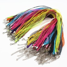 "100pcs/lot Mix Color Satin Ribbon String Cord Necklace Chains 18"" Strap Wholesale Parts Jewelry Making Supplies Bijoux Fittings"