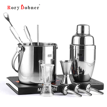 Stainless Steel Cocktail Shaker Suit Ten Sets of Bar Tools Shaking Snow Send Manual Vacuum Wine Stopper Wine Filter Jigger JJ014