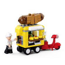 New City Series 112Pcs /Set Hot Dog Snack Car Model Children Building Blocks Kit Education Gift Toys Brand Compatible