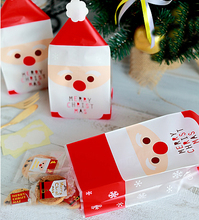 Merry Christmas Cookie Bags Cake Cookies Wrappers -Snacks,Party, Favor,Gift, Bread Handmade Plastic Bag100pcs/lot
