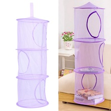 Hot 75cm x 26cm 3 Shelf Hanging Storage Net Kids Toy Organizer Bag Bedroom Wall Door Closet Organizers Basket for Toys(China)