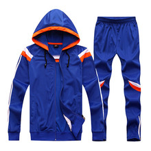 2017 New Winter Men Women Soccer jerseys Long Sleeve Training Pants set Survetement Football trousers Jacket Shirts hooded