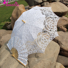 Free Shipping Lace Fan And Wedding Umbrella Lace Parasol(China)