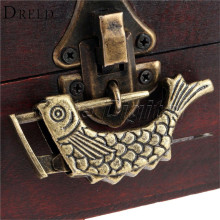 Antique Bronze Alloy Antique Chinese Old Wooden Box Lock Jewelry Chest Box Lock Padlock for Suitcase Drawer Cabinet 60x9x31mm