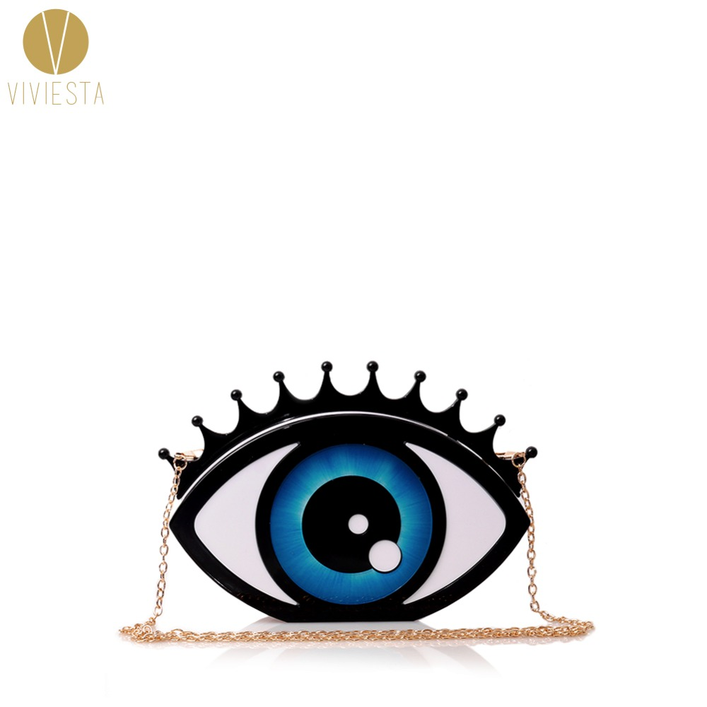 EVIL EYE HARD CASE CLUTCH - Womens Halloween Rock Punk Fashion Stylish Unique Pop Art Design Novelty Party Statement Bag Purse<br>