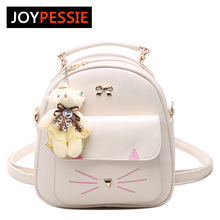 JOYPESSIE Girls PU Leather Small Cat Backpack Women Back Pack Bag Mini backpack Teenage Student School Rucksack Shoulder bag