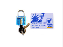 Economic Locksmith Tools Set 5pcs Hardware Tools With Jame Bond Card +One Mini Blue Transparent Lock Funny And Practice Supply(China)
