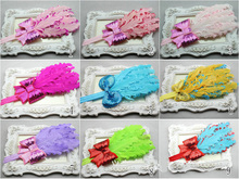 Best Selling 9Sets/lot Fascinator Feather Headbands Boutique Sequin Bows Hair Band Kids Shiny Headwears Free Shipping