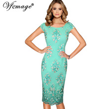 Vfemage Womens Elegant 3D Floral Embroidery Party Mother of Bride Bridesmaid Special Occasion Event Bodycon Sheath Dress 7058(China)
