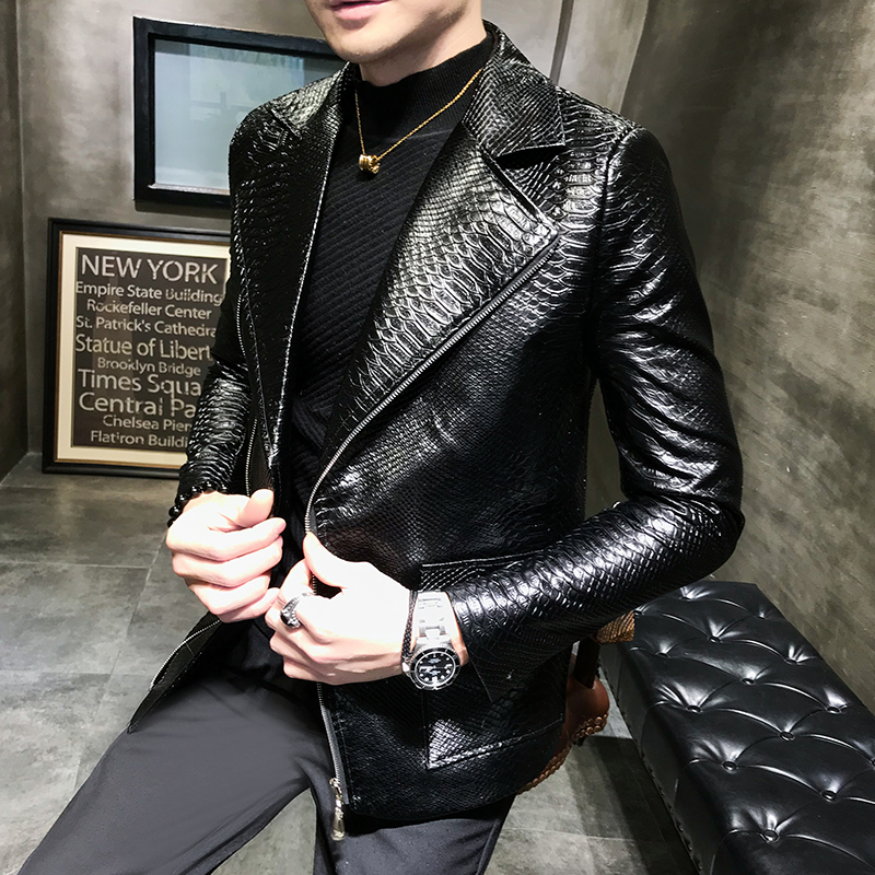 2019 new tide male personality punk style leather jacket male handsome locomotive leather jacket men's clothing singer costume