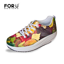 FORUDESIGNS 3D Maple Leaf Printing Women Fashion Spring Swing Shoes Casual Fitness Lace-up Shoes for ladies Student Shaping Up