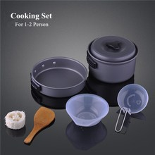 Brand Outdoor Camping Cooking set 1-2 people Ultralight Portable Combination Tableware Cookware Utensils Pot Bowl Pan For Picnic