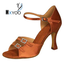 Women Ballroom Dance Shoes Latin Salsa Tango Suede Sole Girls Satin Customized Sandal Heels Teach Practice JYG925(China)