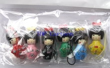 New 2 sets (6 pcs/set) Japanese Kokeshi Doll Mobile Phone Strap Charm / Mobile Phone Straps R-02
