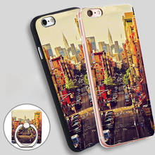China Town in NYC USA Phone Ring Holder Soft TPU Silicone Case Cover for iPhone 4 4S 5C 5 SE 5S 6 6S 7 Plus
