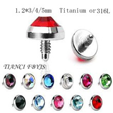 15PCS/Lot G23 Grade Titanium Black Anodized Dermal Anchor Gem Top Body Jewelry Pircing Skin Diver Piercing(China)