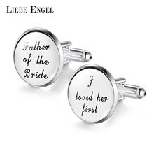 LIEBE ENGEL Wedding Cufflinks Custom White Black Background Men Cufflinks Groomsmen Gift the best is yet to be grow old with me(China)