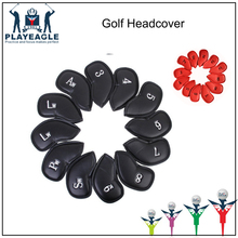 Golf Iron Headcovers 12pcs one set PU Leather cover for 3-9 A/S/P/Lw/Lw Iron Golf Club Waterproof Cover Protection(China)