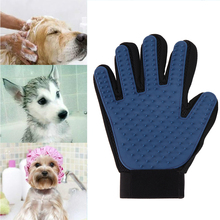 Pet Cleaning Brush Glove True Touch Deshedding Glove Gentle Efficient Pet Grooming Bathing Massage Comb Gloves Rubber Blue