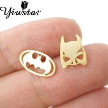 2017 New Fashion Earrings Brass Cute Animal Batman Themed Bat Mask and Logo Shaped Stud Earrings for Women Party Gifts ED076(China)