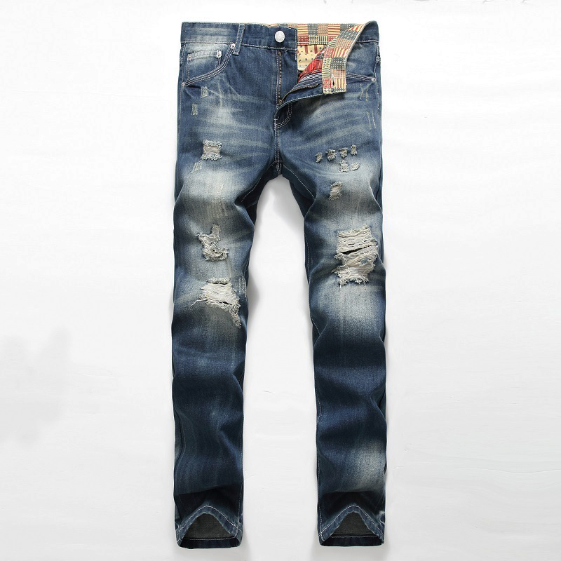 2016 new high quality men jeans hole Casual ripped jeans men hiphop pants Straight jeans for men denim trousers  jeans Îäåæäà è àêñåññóàðû<br><br>