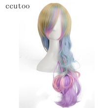 ccutoo 70cm Yellow Blue Green Pink Purple Mix Long Curly Synthetic Wig Full Bangs Female Party Halloween Party Cosplay Hair Wigs(China)