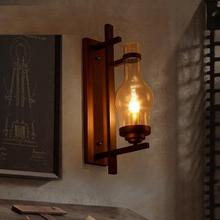 Loft Style Iron Glass Wall Sconce Industrial Vintage Wall Light For Home Bedroom Antique Wall Lamp Indoor Lighting Luz De Pared(China)