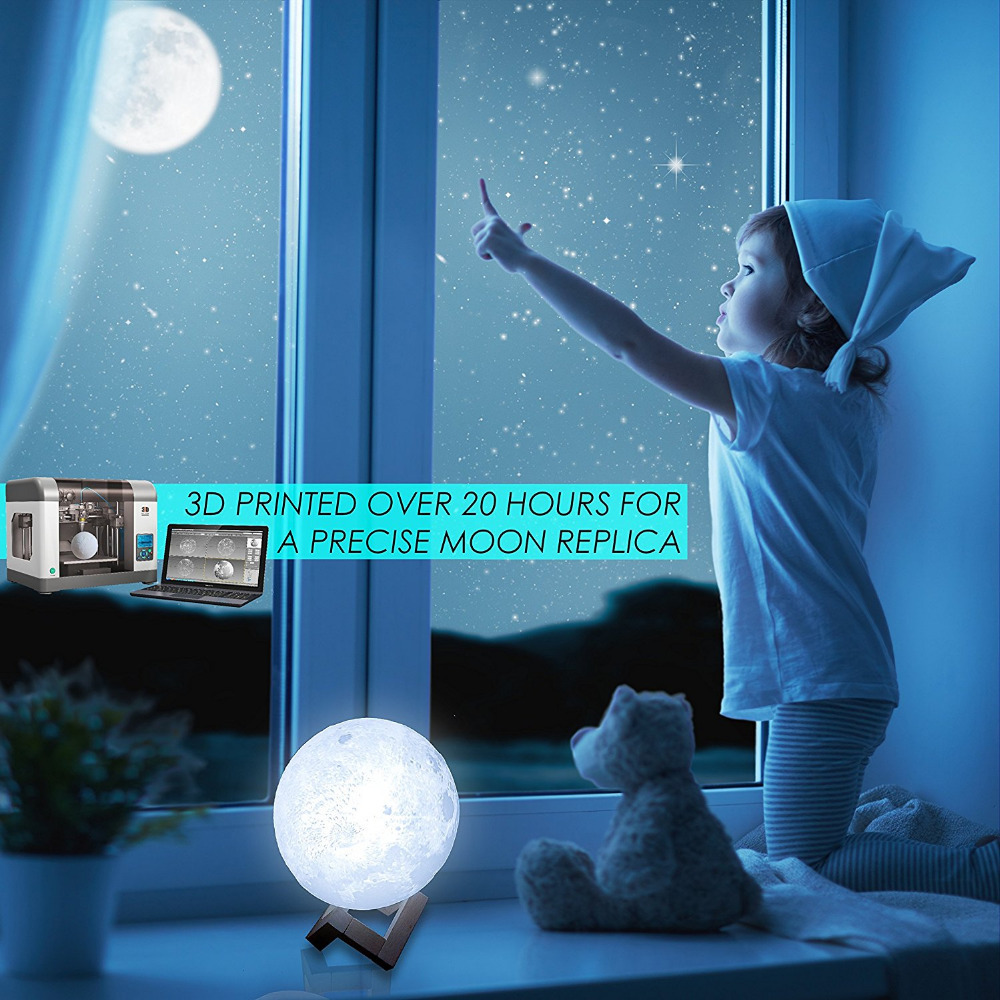 Chiclits LED Moon Lamp 3D USB Magical Moon Night Light 10CM Table Touch Sensor Color Changing Home Bedroom Decoraction Child Kid Girl Gift (20)