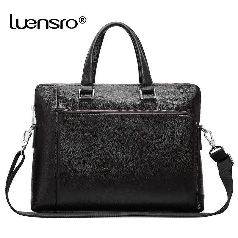 0999dfc3477f LUENSRO 100% натуральная кожа портфель s мужской 14 дюймов портфель для  ноутбука брендовая мужская повседневная