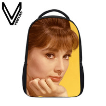 VEEVANV Brand 2017 Audrey Hepburn Image Bookbag 3D Prints Backpack PU Laptop Shoulder Bags Fashion School Backpack for Childrens