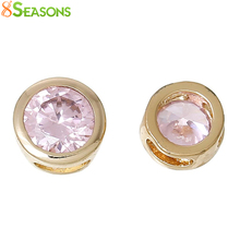 8SEASONS Copper Charm Beads Round Pink Blue Olive Green Red Gold color Pave Zircon About 6mm Dia,Hole: 3.2mm x1.2mm, 2 Pcs