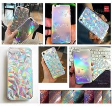 Holographic Card Paper Geometric Phone Case For iPhone 7 Plus 6 6S Plus 5 5S Rainbow 3D Diamond TPU Cover Fashion Pastel Cover
