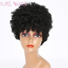 MISS WIG Short Fluffy Kinky Curly Wigs For Black Women Afro Wig Black Hair Syntetic Wig High Temperature Fiber African Hairstyle