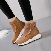 Winter genuine Leather Boots Women 2017 Fur Snowboots Fashion Thick Cotton Warm Wedges ladies Ankle Snow boots Sports Shoes(China)