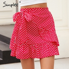 Buy Simplee Polka dot wrap skirts womens Floral print summer style mini skirt Streetwear ruffle high waist short skirt female 2018 for $13.99 in AliExpress store