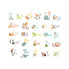 Cartoon Animals 26 English Alphabet Educational Wall Sticker PVC Removable Decal Home Children Kids Nursery Room DIY Accessories
