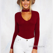 GZDL Autumn Women's Sexy Bodysuit Top Shirt Long Sleeve Deep V Solid Knitted Women Tops Bodysuits Blouse Five Colors CL3295