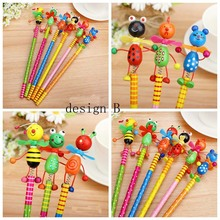 24 pcs/lot kawaii Creative Wooden Cute Cartoon Pencils Children stationery Pencil Gift kids Study Writing and Drawing Wholesale(China)