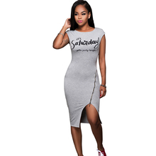 Sexy Club Dress 2017 Summer Short Sleeve Gray Bodycon Letter Print Dress Knee Length O Neck Pink Party Plus Size Dresses vestido