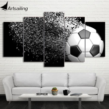 HD Printed 5 Piece Canvas Art Football Disintegration Painting Wall Pictures Modular Framed Painting Free Shipping CU-2338C(China)