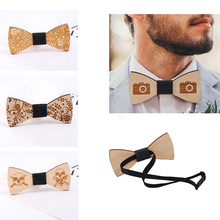 Naiveroo Novelty Bowtie Plaids Butterfly Ties For Womens Men Wooden Bowknot Bow Tie Classic Style Wedding Man Accesorry(China)