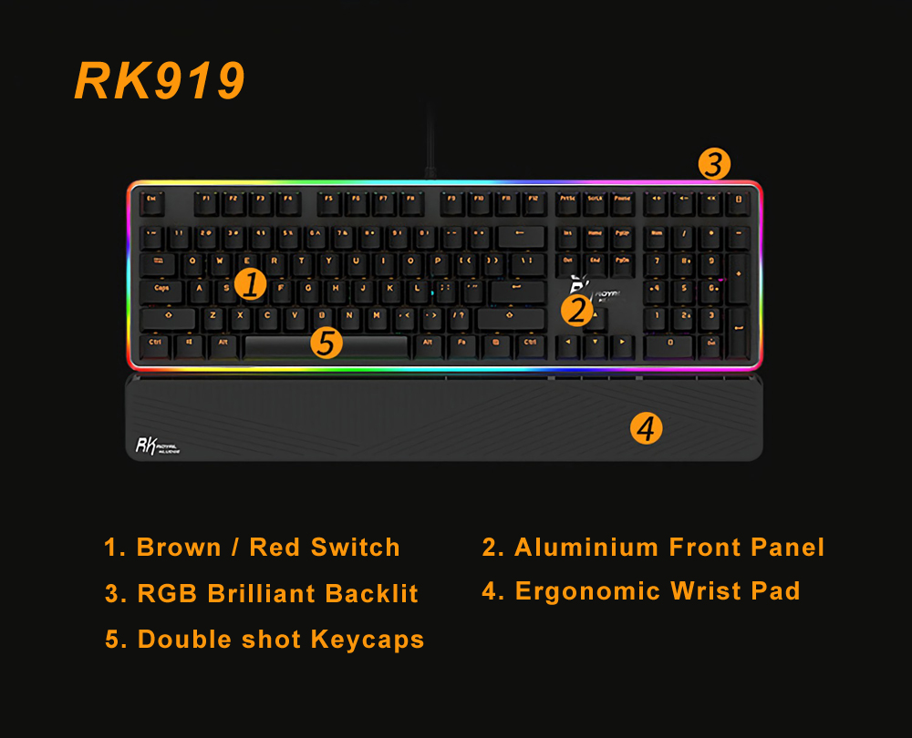 Royal Kludge RK RK919 USB Wired NKRO RGB Mechanical Gaming Keyboard Blue Switch 7
