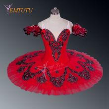 Adult Professional Ballet Tutus Red Black Silver Performance Stage Platter Pancake Tutu Competition Classical Ballet Costume