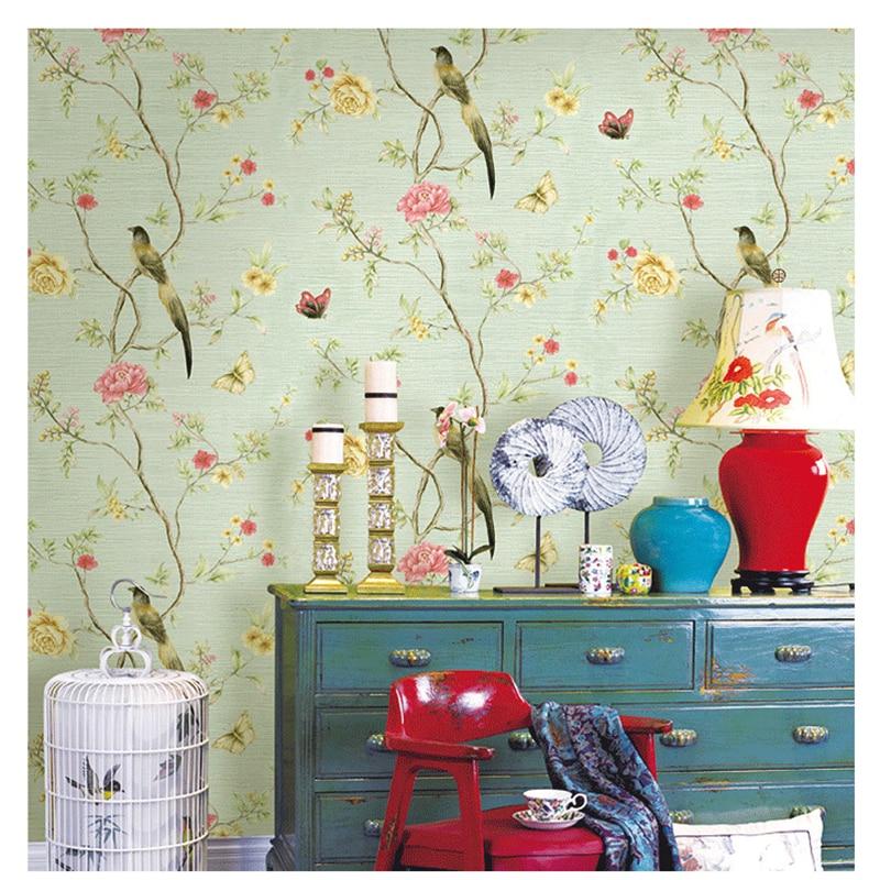 beibehang Chinese flowers and birds garden butterfly big flower wallpaper living room bedroom 3D linen pattern wallpaper<br>