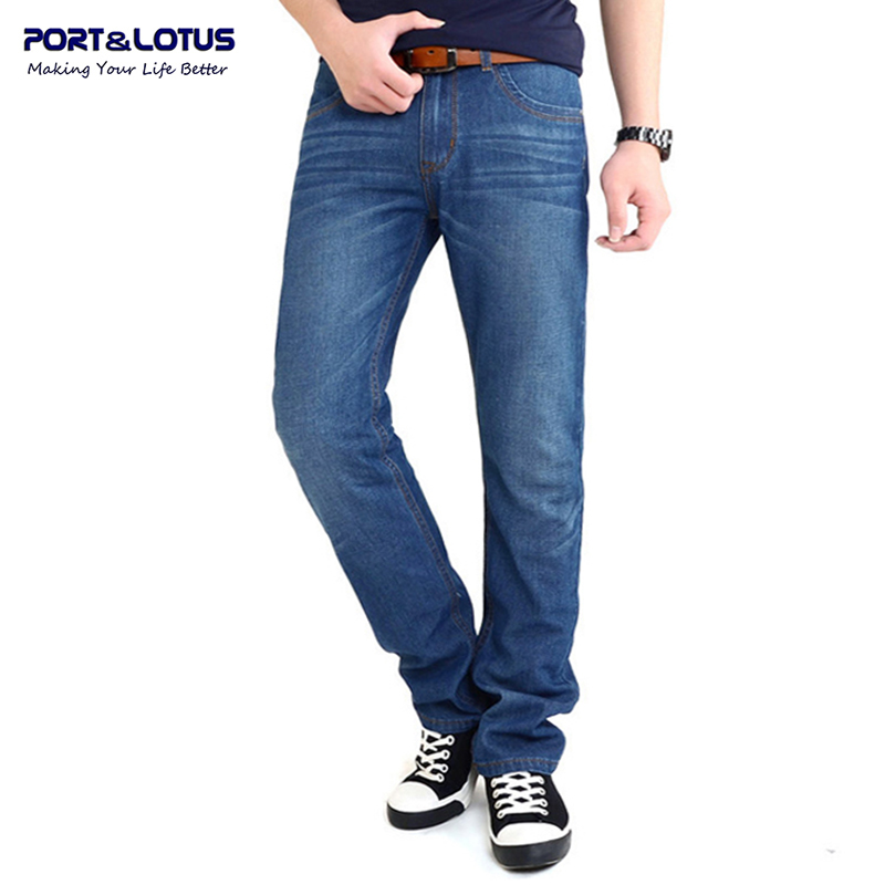 Port&amp;Lotus Fashion Casual Jeans With Zipper Fly Solid Color Midweight Straight Pants Slim Fit Men Jeans 066 wholesaleОдежда и ак�е��уары<br><br><br>Aliexpress